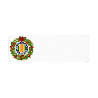 Vietnam Veterans of America Christmas Wreath Label Return Address Label