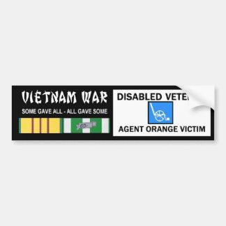 VIETNAM WAR - DISABLED VET - AGENT ORANGE VICTIM BUMPER STICKER
