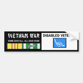 VIETNAM WAR - DISABLED VET BUMPER STICKER