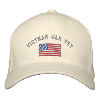 Vietnam War Vet with American Flag Embroidered Hats