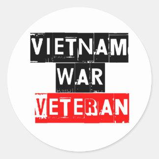 vietnam war veteran classic round sticker