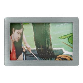 Vietnam woman washing hair rectangular belt buckles