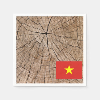 Vietnamese flag on tree bark paper napkins