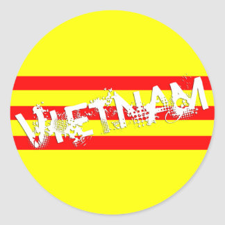 Vietnamese Flag (round stickers) Classic Round Sticker