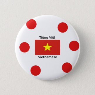 Vietnamese Language and Vietnam Flag Design 2 Inch Round Button