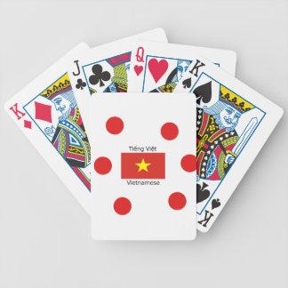Vietnamese Language and Vietnam Flag Design Bicycle Playing Cards
