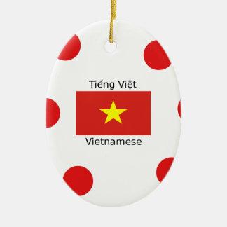 Vietnamese Language and Vietnam Flag Design Ceramic Ornament
