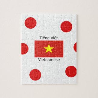 Vietnamese Language and Vietnam Flag Design Jigsaw Puzzle