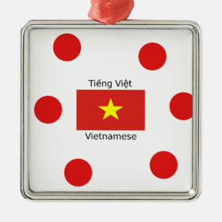 Vietnamese Language and Vietnam Flag Design Metal Ornament