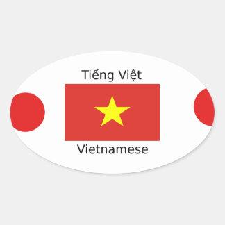 Vietnamese Language and Vietnam Flag Design Oval Sticker