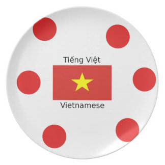 Vietnamese Language and Vietnam Flag Design Plate