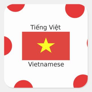 Vietnamese Language and Vietnam Flag Design Square Sticker