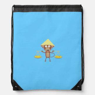 Vietnamese monkey drawstring backpack