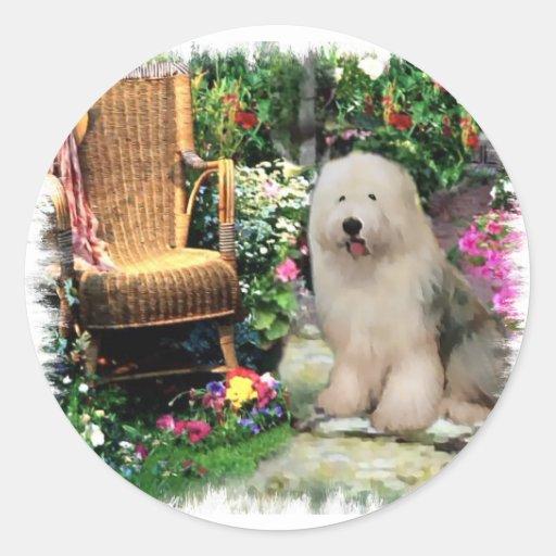 Vieux cadeaux anglais d'art de chien de berger autocollants