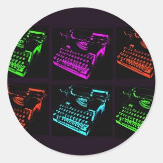 Vieux collage de machine à écrire sticker rond