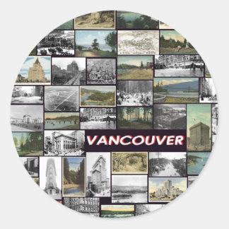 Vieux collage de Vancouver Sticker Rond