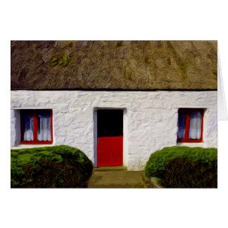 Vieux cottage irlandais avec la bénédiction de carte de correspondance