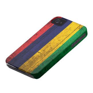 Vieux drapeau en bois des Îles Maurice Étui iPhone 4