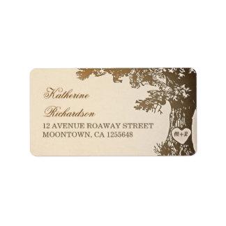 vieux étiquettes de adresse bruns d'arbre pour