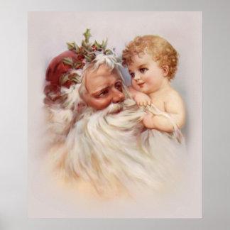 Vieux Monde Père Noël et ange Poster