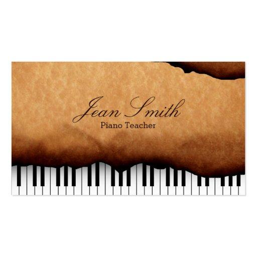 Vieux professeur de piano de papier vintage cartes de visite professionnelles