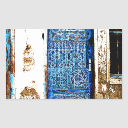 Vieux style bleu vintage de Boho de porte Sticker En Rectangle