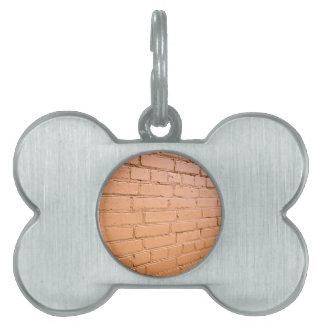 View angle on the brick wall pet tag
