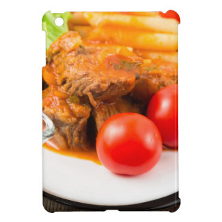View close-up on a meal of beef stew with pasta case for the iPad mini