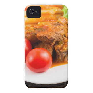 View close-up on a meal of beef stew with pasta iPhone 4 Case-Mate cases