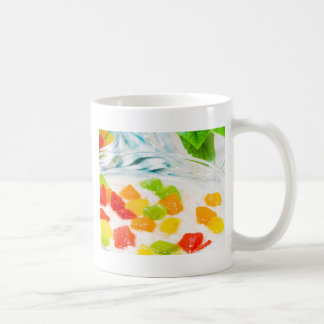 View close-up on oatmeal with colorful candied coffee mug