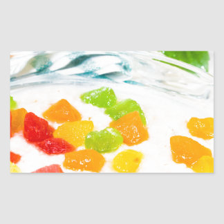 View close-up on oatmeal with colorful candied sticker