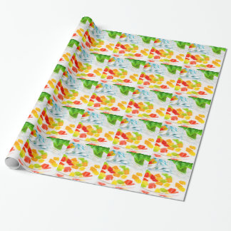View close-up on oatmeal with colorful candied wrapping paper