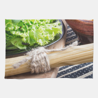 View close-up on uncooked pasta and spaghetti kitchen towels