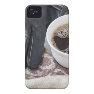 View close-up on white cup of coffee and gloves Case-Mate iPhone 4 cases