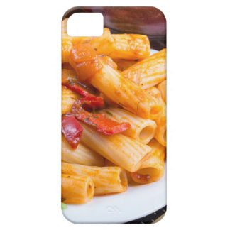 View closeup on a dish of rigatoni pasta iPhone 5 covers