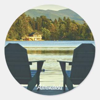 View from Adirondack Chairs in the Adirondacks, NY Round Sticker