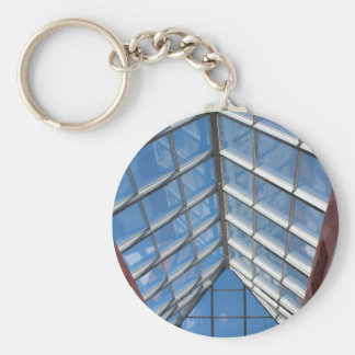 View from below the transparent roof of the glass basic round button keychain
