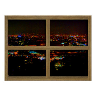 View From Mulholland 4 Panel Wood Window Poster