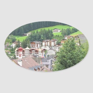 View from Ortisei Oval Sticker