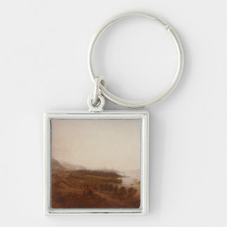 View from Schloss Sanssouci, Potsdam, 1750 Silver-Colored Square Keychain