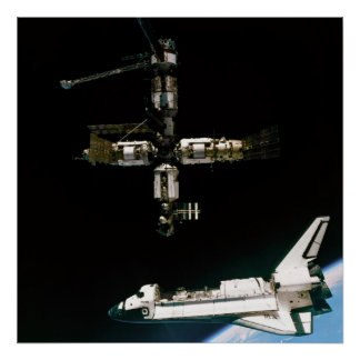 View from Soyuz of Shuttle Atlantis departing Mir Poster