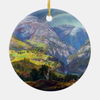 View from Stalheim by Johan Christian Dahl (1842) Round Ceramic Ornament