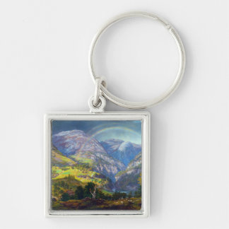View from Stalheim by Johan Christian Dahl (1842) Silver-Colored Square Keychain