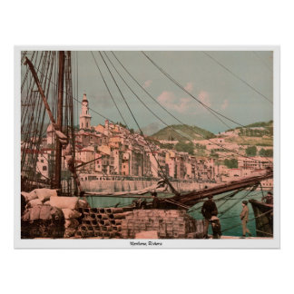 View from the harbor, Mentone, Riviera Poster