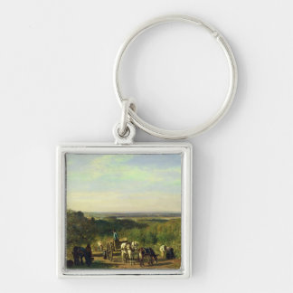 View from the Hilltops of Suresnes Silver-Colored Square Keychain