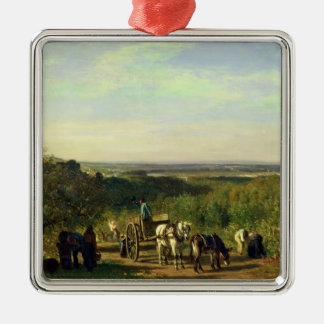 View from the Hilltops of Suresnes Silver-Colored Square Ornament
