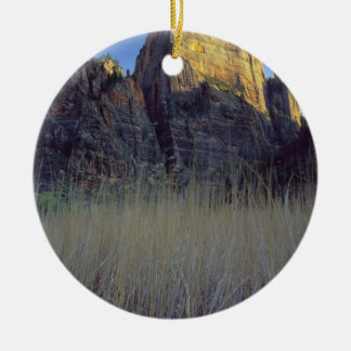 View from Virgin River flood plain, Zion Canyon Round Ceramic Ornament