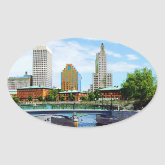 View from Waterplace Park, Providence, RI Oval Sticker