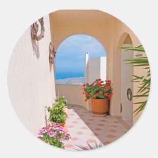 View in Santorini island Classic Round Sticker