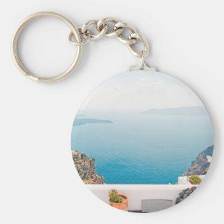 View in Santorini island Keychain